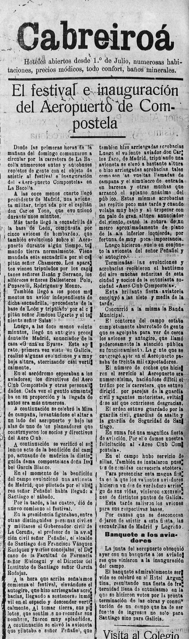 El Eco de Santiago diario independiente Año XXXIX Número 16284 1935 julio 29
