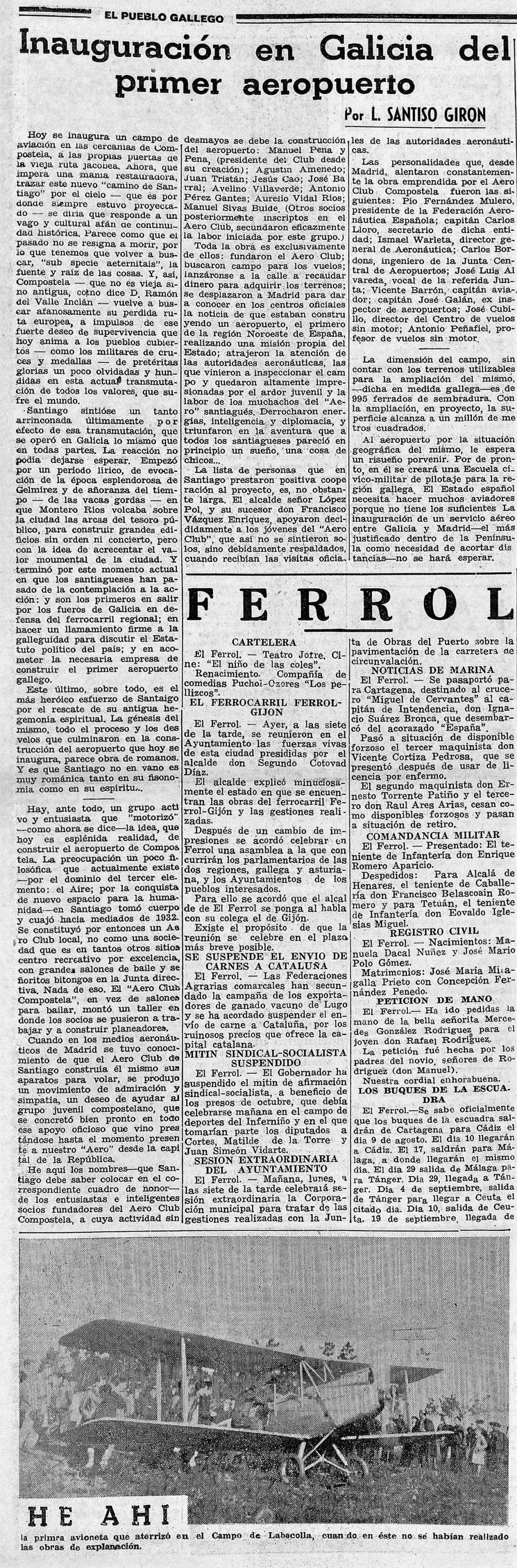 El Pueblo gallego rotativo de la mañana Año XII Número 3528 1935 julio 28